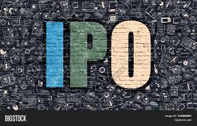 ipo initial public offering concept multicolor inscription on