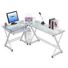 Glass Corner Computer Desks For Home Techni Mobili Rta 3802 Gls L Shaped Glass Computer Desk In Clear