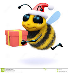 3d honey bee holding a christmas gift stock illustration image