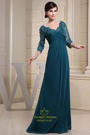 long dark green prom dress chiffon and lace mother of the bride