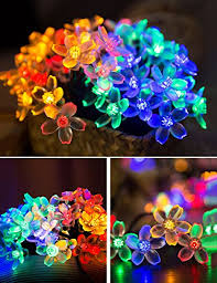 Multi Colored Solar Garden Lights by 50 Led Solar Garden Lights Outdoor Solar String Lights Flower
