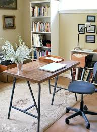 Diy Desk Legs How To Make A Desk With Ikea Trestle Legs And Wood Flooring