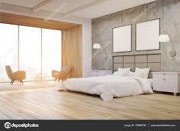 interior concrete walls side view of a bedroom interior with concrete walls a large bed