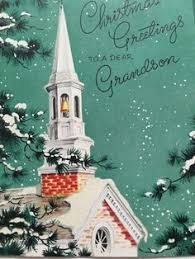 vintage christmas card victorian church scene with gold