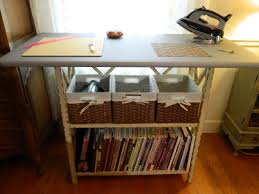 Quilting Cutting Table by Ironing And Cutting Center With Basket And Bookshelf Storage