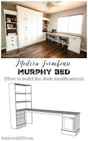 Diy Modern Desk Diy Modern Farmhouse Murphy Bed How To Build The Desk Free In Beds
