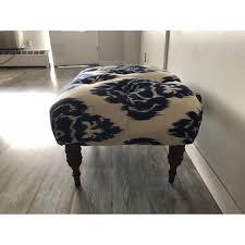 Ikat Ottoman Horchow Emily Tufted Blue White Ikat Ottoman Aptdeco
