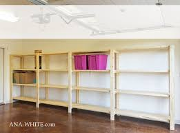 Free Built In Bookcase Woodworking Plans by Ana White Easy Economical Garage Shelving From 2x4s Diy Projects