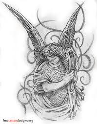 black and white warrior angel tattoo design in 2017 real photo