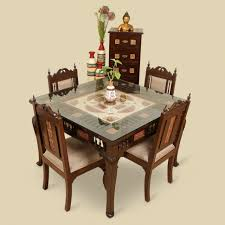 4 seater dining table with bench wood 4 seater dining table chair with warli dhokra work
