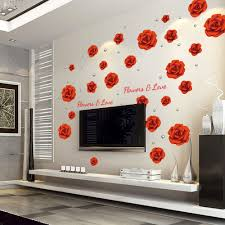 popular rose wall decor buy cheap rose wall decor lots from china big size red rose wall decor sticker removable flower diy wall pictures cute lovely living room