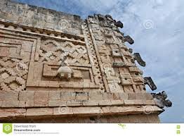 details of mayan puuc architecture style uxmal mexico stock