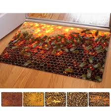 tapis de cuisine orange honeycomb 3d thin indoor mats rugs for home bathroom carpet