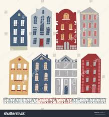 European Style Houses Set European Style Colorful Cartoon Buildings Stock Vector