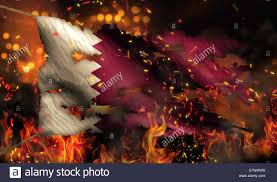 Burning Red Flag Qatar Burning Fire Flag War Conflict Night 3d Stock Photo Royalty