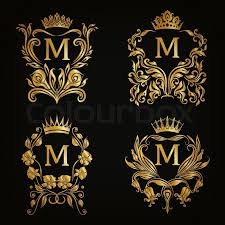 gold monogram set of gold monogram for graphic design on black background royal