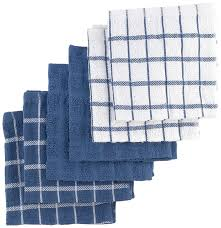amazon com dish cloths dish towels home kitchen ritz 100 cotton terry kitchen dish towels highly absorbent dish cloths 12 x 12 6 pack federal blue