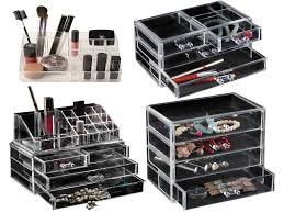 black and clear acrlic storage box and drawer for make up
