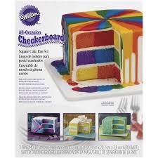 square checkerboard cake pan set by wilton cake decorating
