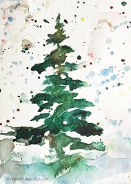 christmas card tree watercolor painting tutorial art ideas for