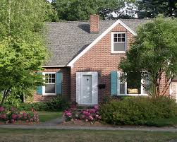 brick home with lighter blue shutters and and semi light roof i u0027d