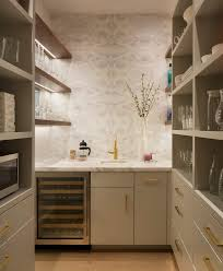 amazing butlers pantry design with grey wallpaper refinished floor