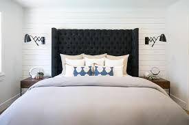 Upholstered Wall Mounted Headboards Shiplap Headboard Wall Design Ideas