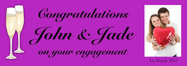 congratulations engagement banner engagement banner with photo and chagne flutes image