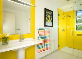 Gray And Yellow Bathroom Ideas by Bathroom Impressive Shocking Yellow Bathroom With Glass Shower