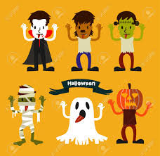 free halloween party clipart halloween character set halloween party costume flat design