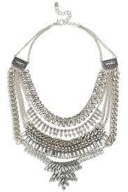 silver rhinestone necklace images Pretty silver statement necklace rhinestone necklace 39 00 jpg