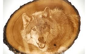 photo engraving engraving on slice of wood