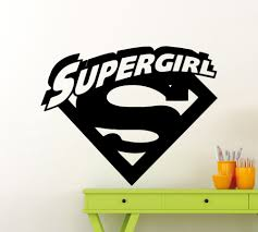 online buy wholesale comic wallpaper from china comic wallpaper superheroes supergirl logo with cool initial wall sticker vinyl wall mural for home room decoration comics