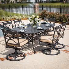 oval aluminum patio table carrolton 7 piece cast aluminum patio dining set with swivel rockers
