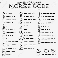 hand drawn doodle sketch international morse code isolated on