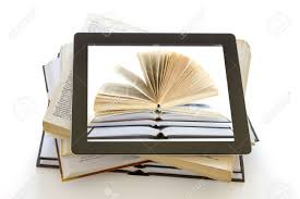 open books over tablet computer isolated on white digital library