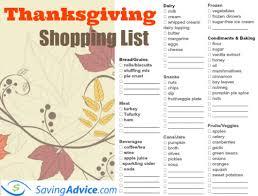 thanksgiving dinner printable shopping list saving advice saving