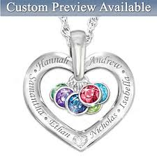 Custom Heart Necklace Mothers Heart Shaped Pendant Necklaces