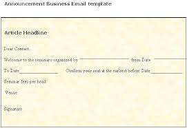 announcement business email template sample business templates