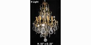 ch40 antique french louis xv style cut crystal bronze 8 light