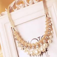 white necklace images Buy white pearl gold statement chain necklace jpg
