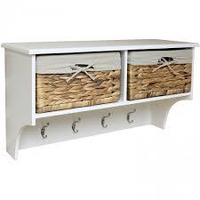 hartleys hallway shelf u0026 4 hook coat rack with seagrass storage