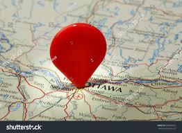 Map Of Ottawa Map Ottawared Map Pointer Stuck Into Stock Photo 200689832