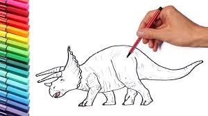 color pages for kids dinosaurs learning color and drawing with