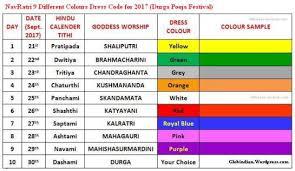list of colours navratri 2017 dress colours list 9 dress code colors for nine days