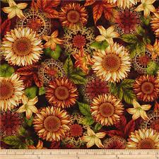 welcome harvest sunflowers aubergine from fabricdotcom designed