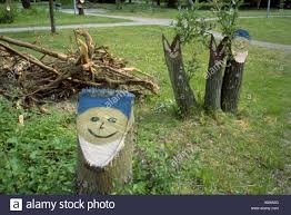 tree stumps painted with the faces of garden gnomes and rabbits in