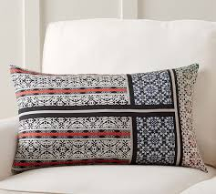 Loloi Pillows Dhurrie Style Pillow Theodora Scarf Print Lumbar Pillow Cover Pottery Barn Red