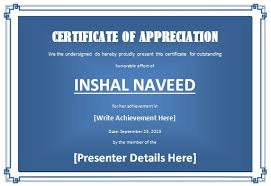 certificate of appreciation template for word formal word templates