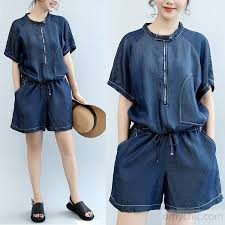 jumpsuit shorts summer navy stylish cotton sleeve tops and casual